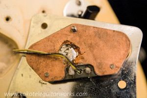 Bridge pickup baseplate.  Bridge pickup was rewound to vintage specs by Jeremy Walz.